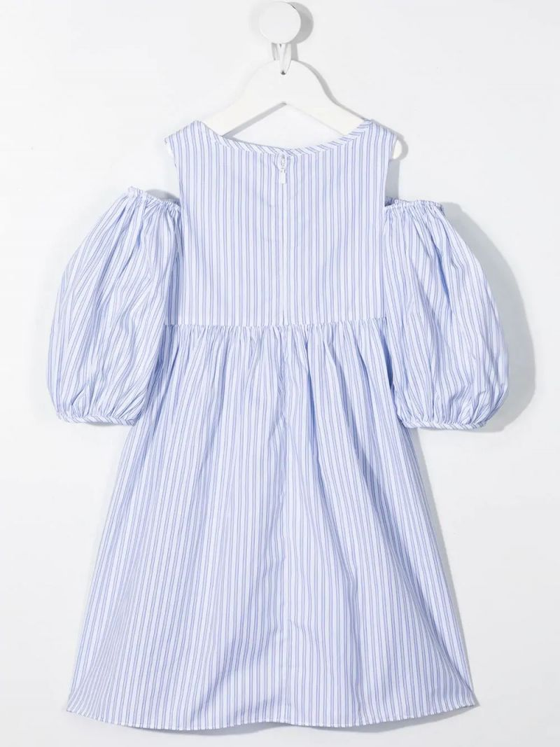 GIVENCHY KIDS: logo-embroidered striped cotton dress Color White_2