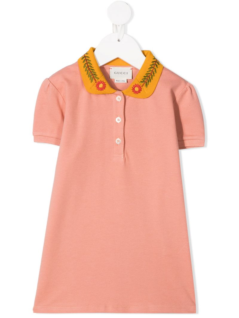 GUCCI CHILDREN: flolar embroidered stretch cotton polo shirt Color Orange_1