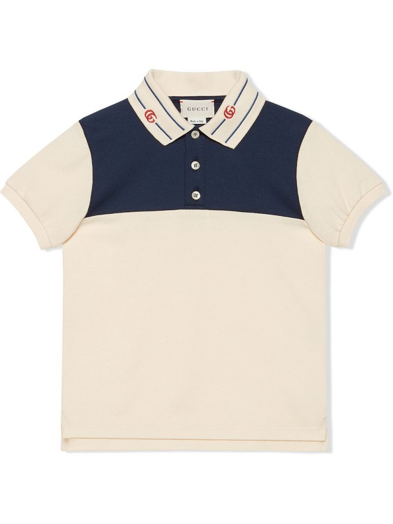 GUCCI CHILDREN: Double G-embroidered stretch cotton polo shirt Color Multicolor_1