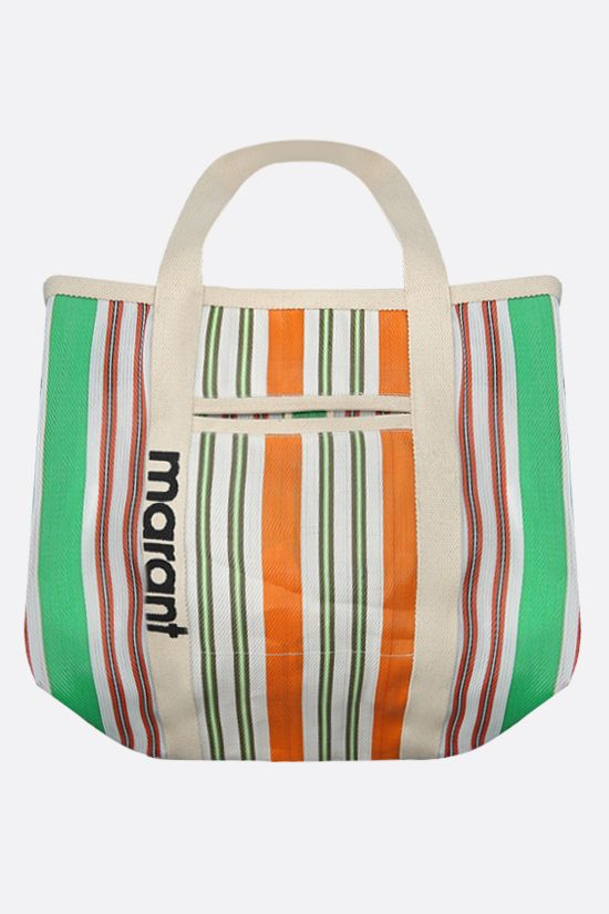 ISABEL MARANT: Warden nylon and canvas shopping bag Color Green_1