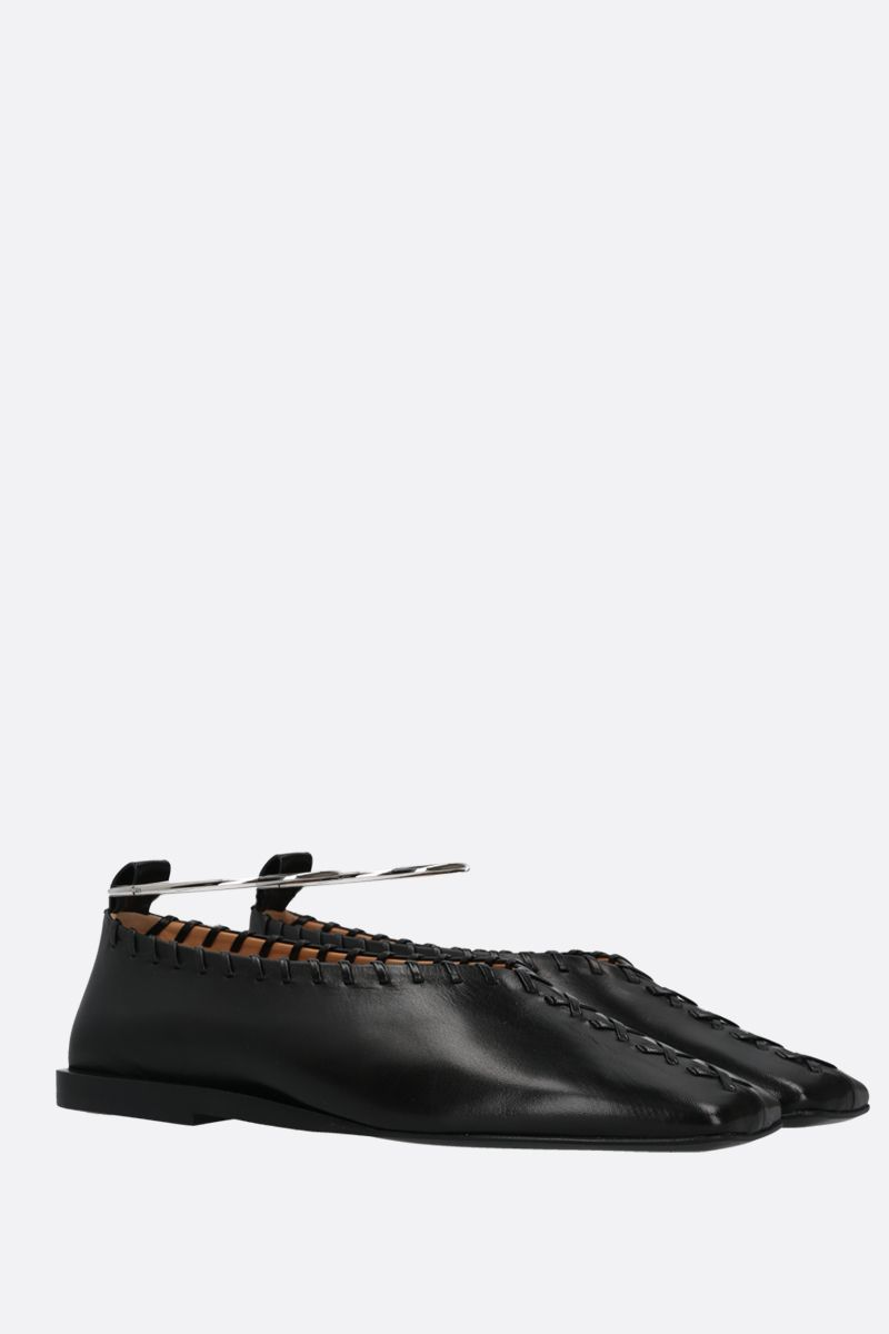 JIL SANDER: ankle bracelet-detailed smooth leather ballerinas Color Black_2