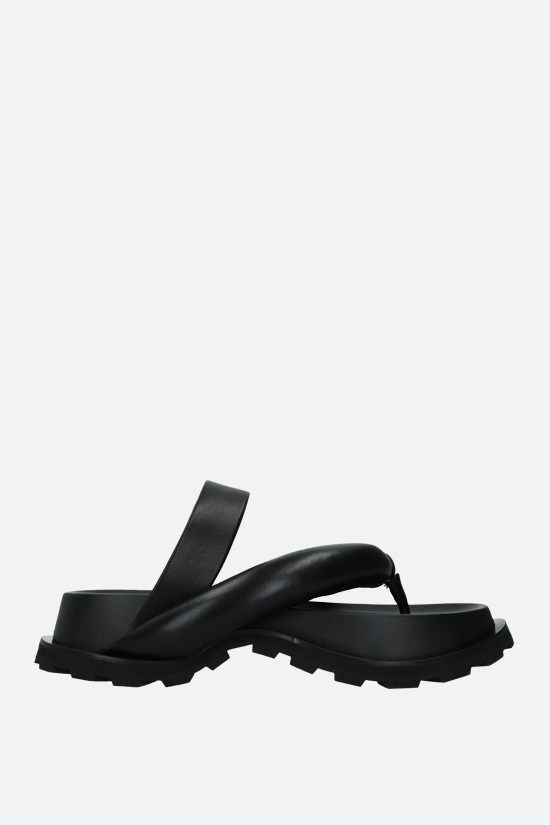 JIL SANDER: soft nappa thong sandals Color Black_1