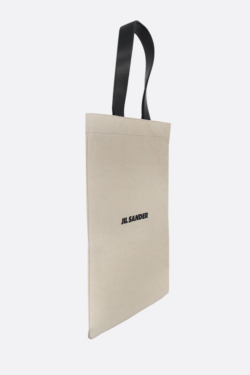 JIL SANDER: logo print canvas shopping bag Color Neutral_2