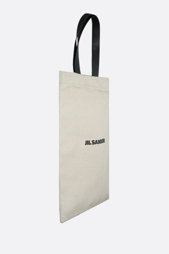 JIL SANDER: logo print canvas tote bag Color White_2