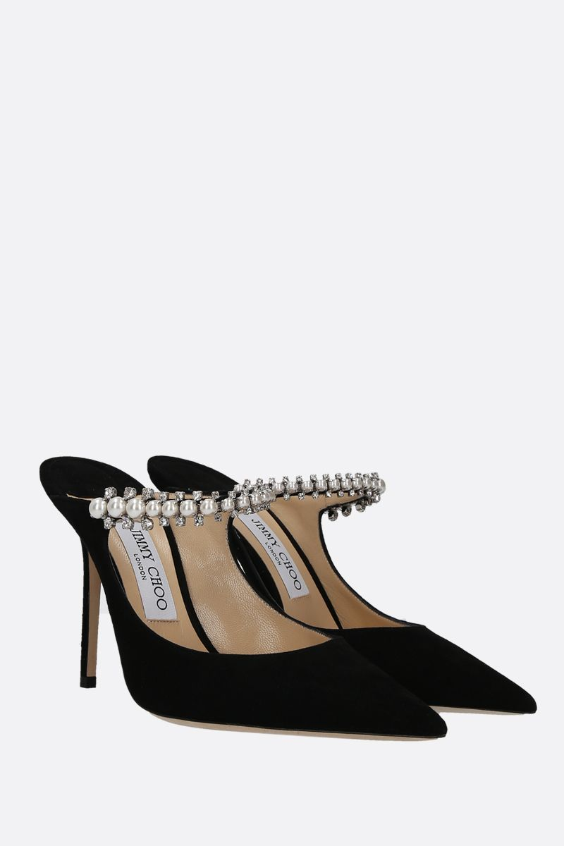 JIMMY CHOO: Bing velvet suede mules Color Black_2