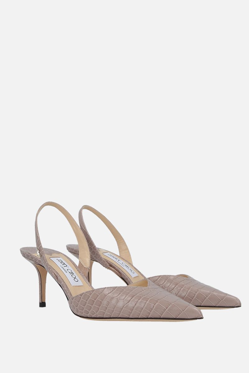 JIMMY CHOO: slingback Thandi in pelle stampa coccodrillo Colore Neutro_2