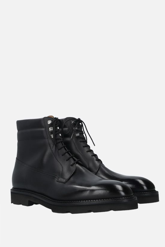 JOHN LOBB: Alder shiny and grainy leather ankle boots Color Black_2