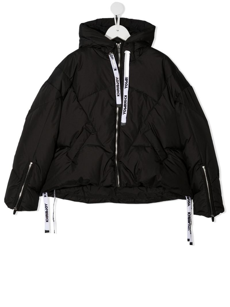 KHRISJOY KIDS: logo-detailed nylon down jacket Color Black_1