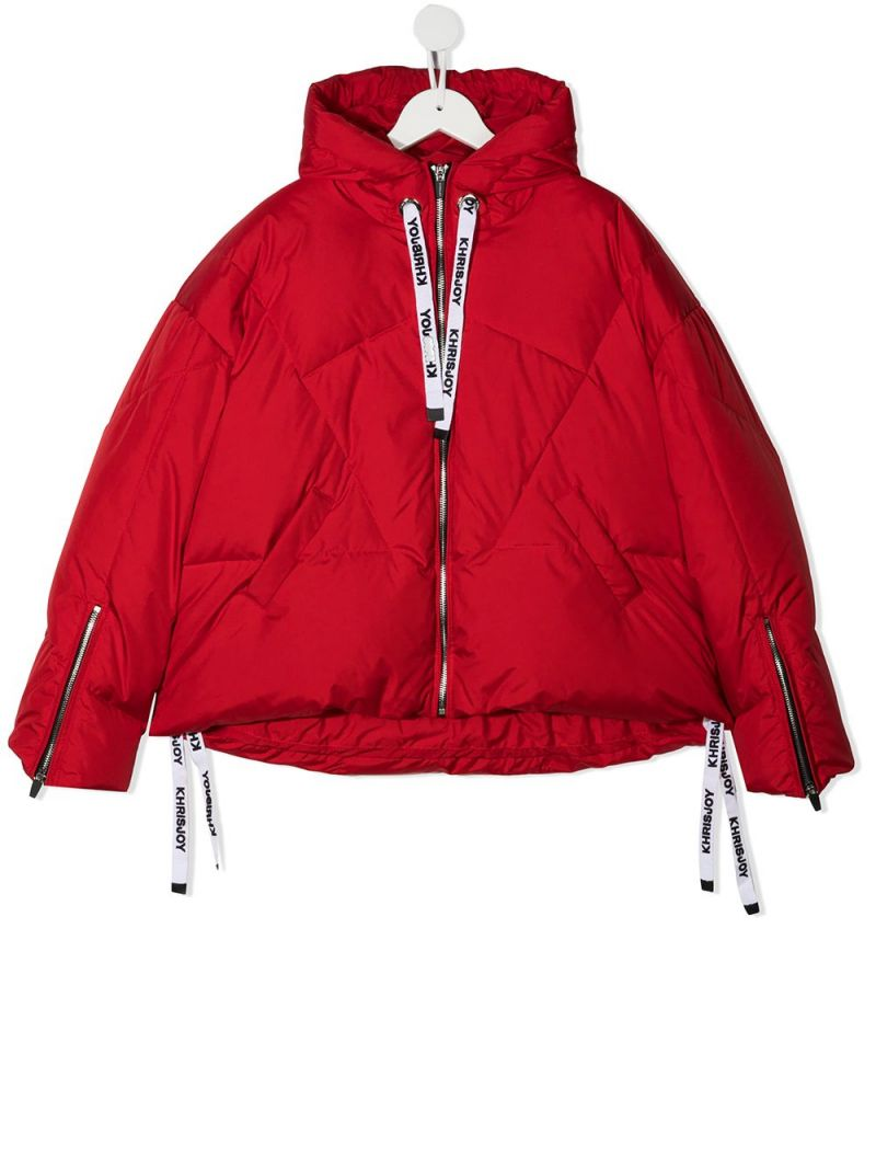 KHRISJOY KIDS: logo-detailed nylon down jacket Color Red_1