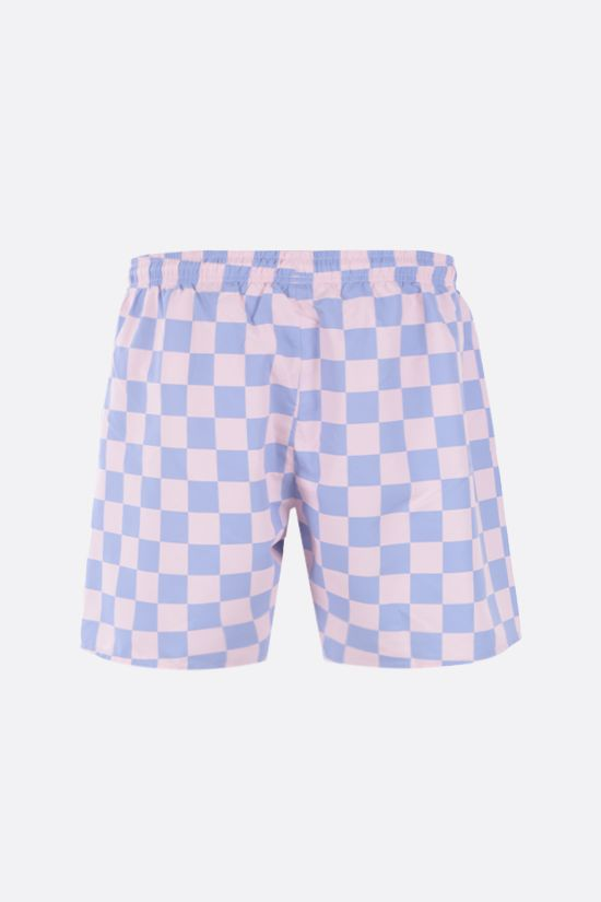 LACOSTE L!VE: checkerboard print taffeta swim shorts Color White_2