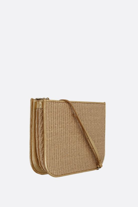 LORO PIANA: My Way raffia and laminated leather shoulder bag Color Brown_2