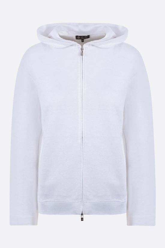 LORO PIANA: stretch linen full-zip hoodie Color White_1