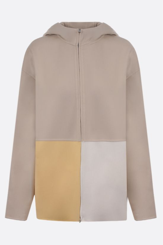 LORO PIANA: giubbotto full-zip in cashmere color-block Colore Neutro_1