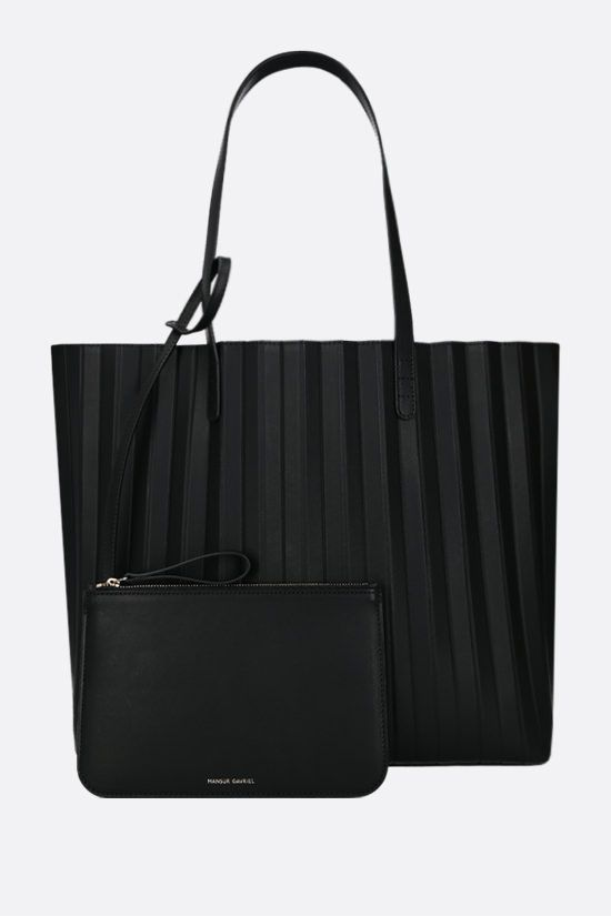 MANSUR GAVRIEL: Pleated smooth leather tote Color Black_1
