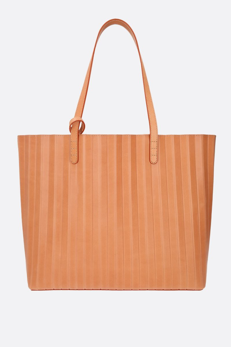 MANSUR GAVRIEL: Pleated smooth leather tote Color Orange_1