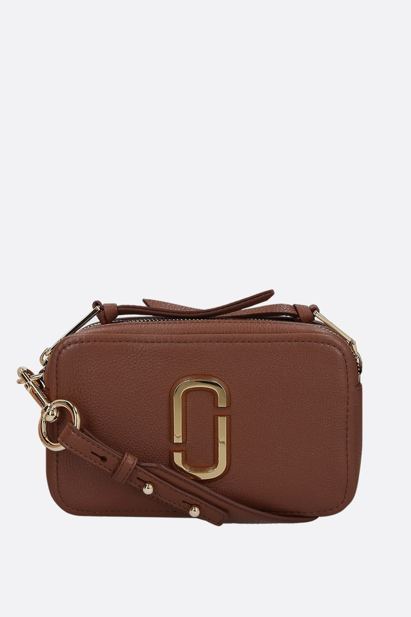 MARC JACOBS: The Softshot 21 grainy leather crossbody bag Color Brown_1