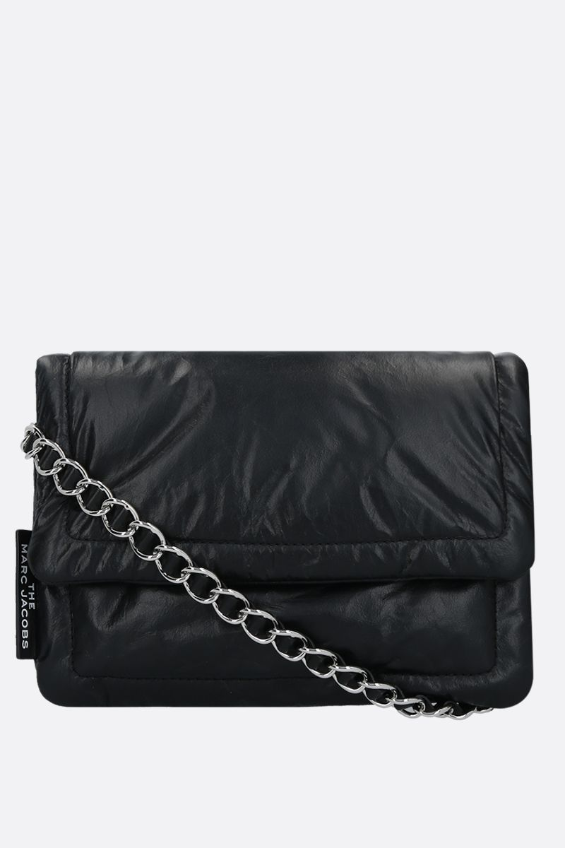 MARC JACOBS: borsa a tracolla The Pillow in pelle imbottita Colore Nero_1
