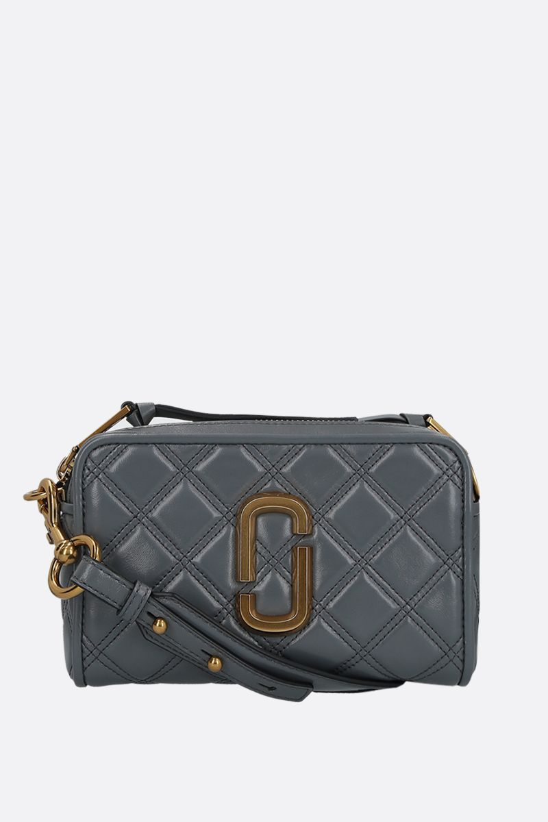 MARC JACOBS: borsa a tracolla The Softshot 21 in nappa matelassè Colore Grigio_1