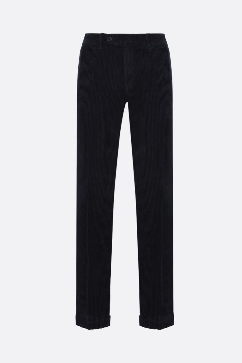 MASSIMO ALBA: slim-fit ribbed velvet pants Color Blue_1