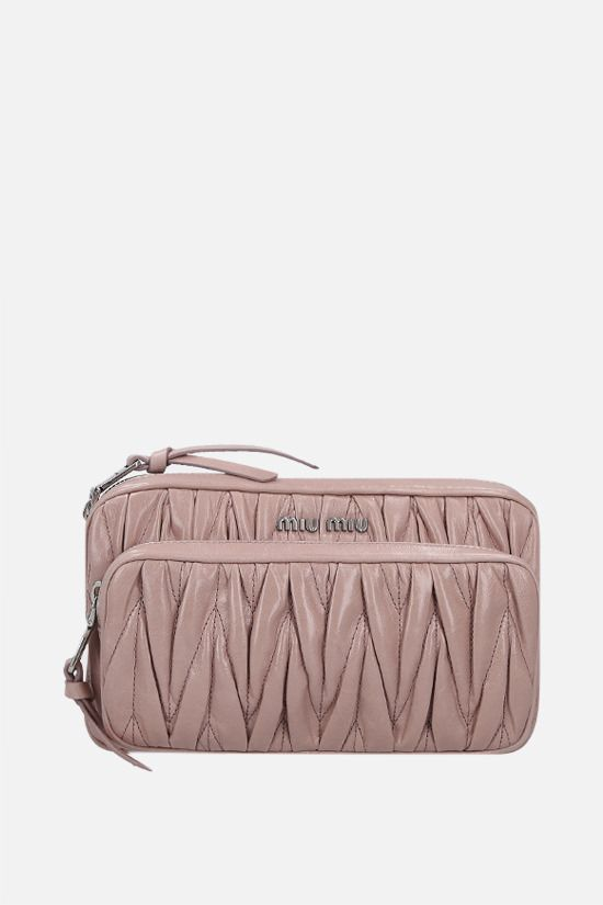 MIU MIU: Shine quilted leather shoulder bag Color White_1