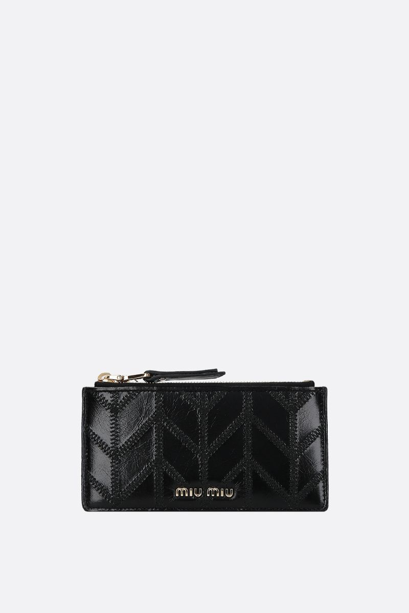 MIU MIU: porta carte con zip in pelle Shine matelassè Colore Nero_1