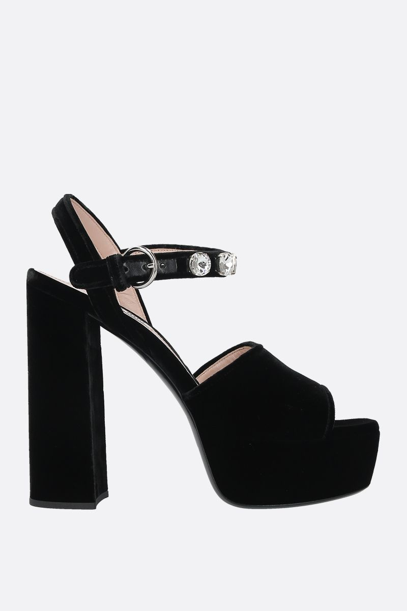 MIU MIU: crystal-embellished velvet platform sandals Color Black_1