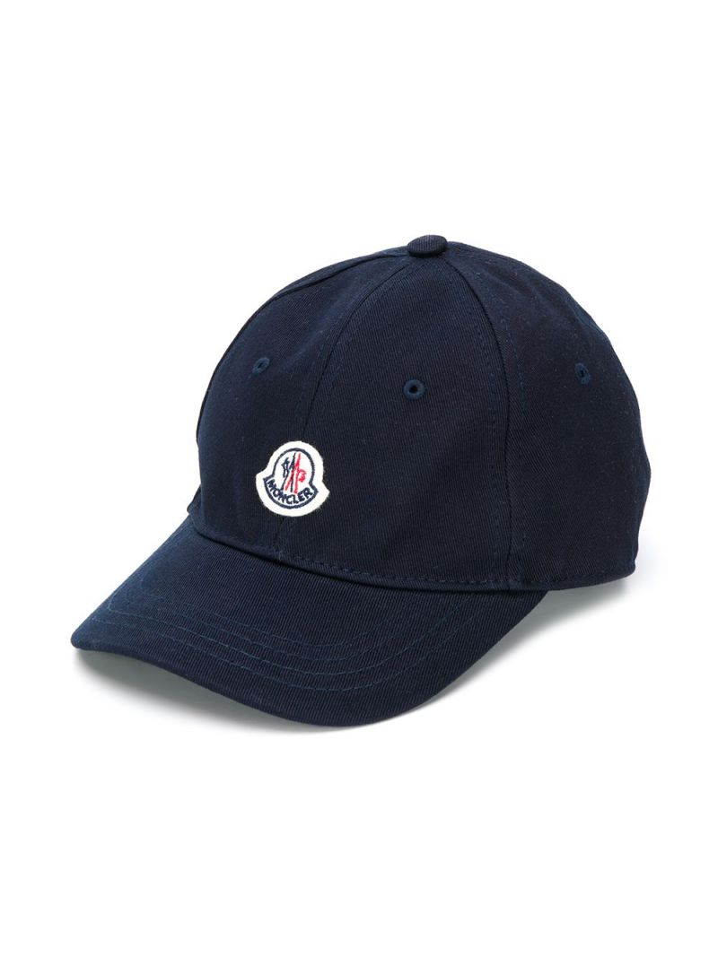 MONCLER KIDS: logo patch cotton baseball cap Color Blue_1