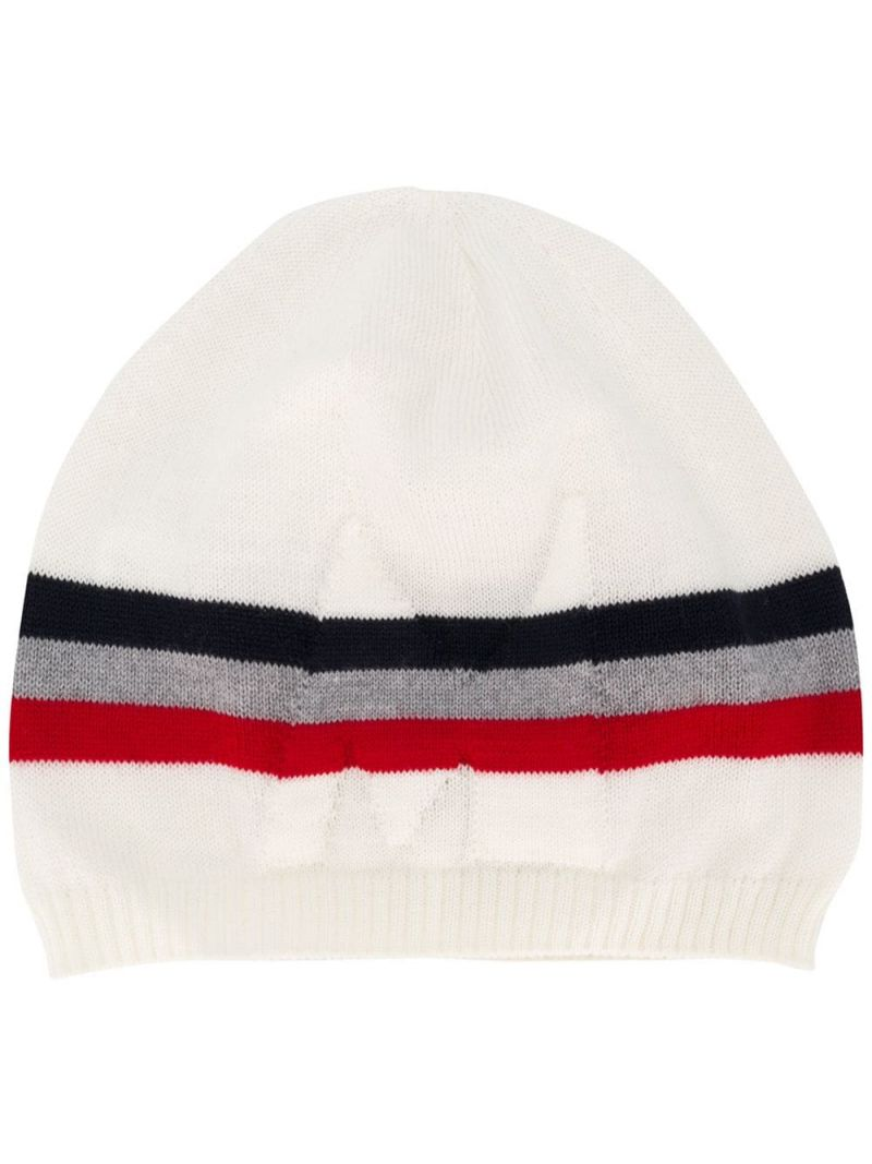 MONCLER KIDS: M intarsia wool beanie Color White_1