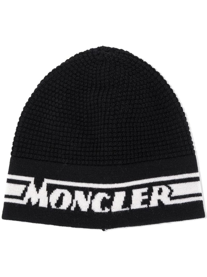 MONCLER KIDS: logo intarsia wool beanie Color Black_1