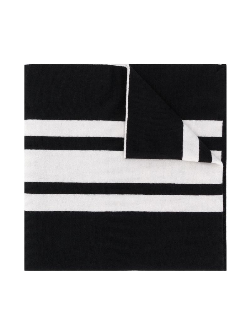 MONCLER KIDS: logo jacquard wool scarf Color Black_1