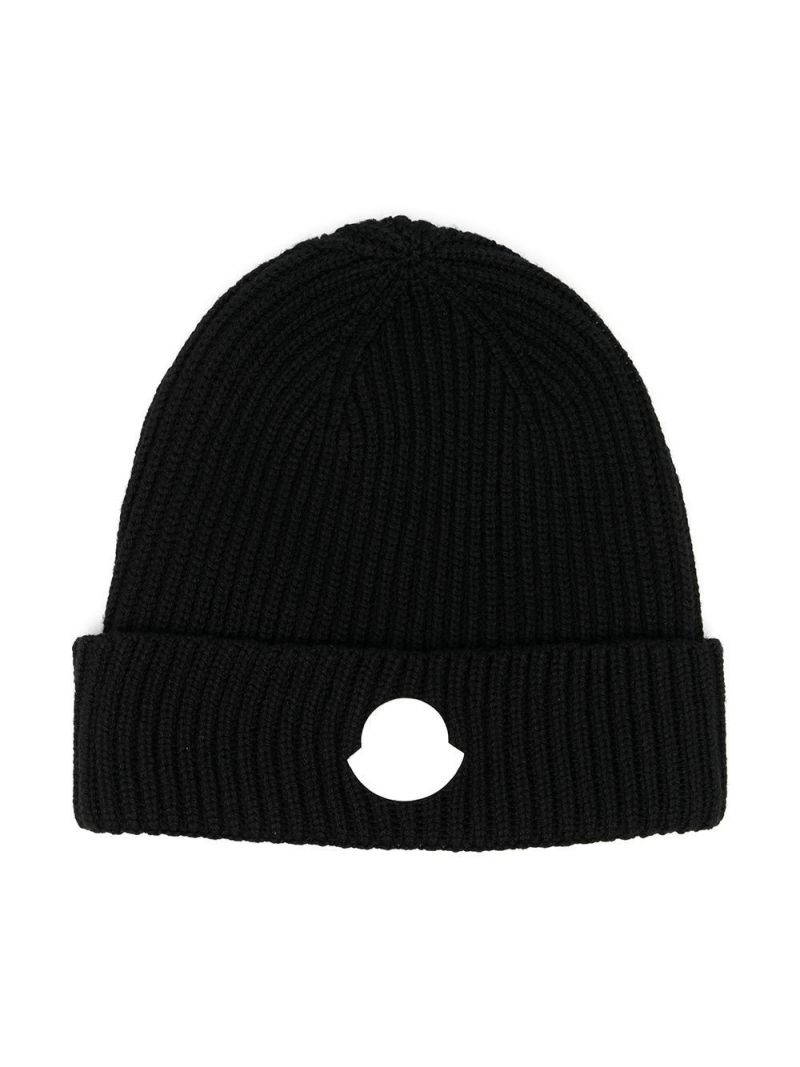 MONCLER KIDS: logo patch ribbed wool beanie Color Black_1