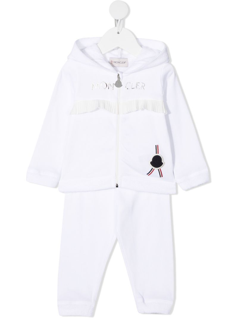 MONCLER KIDS: ruche-detailed cotton tracksuit Color White_1
