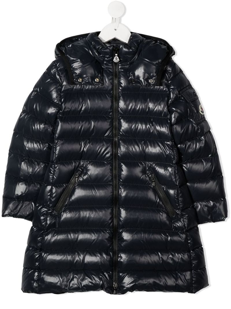 MONCLER KIDS: Bady shiny nylon down jacket Color Black_1
