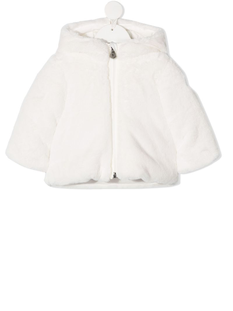 MONCLER KIDS: faux fur down jacket Color White_1