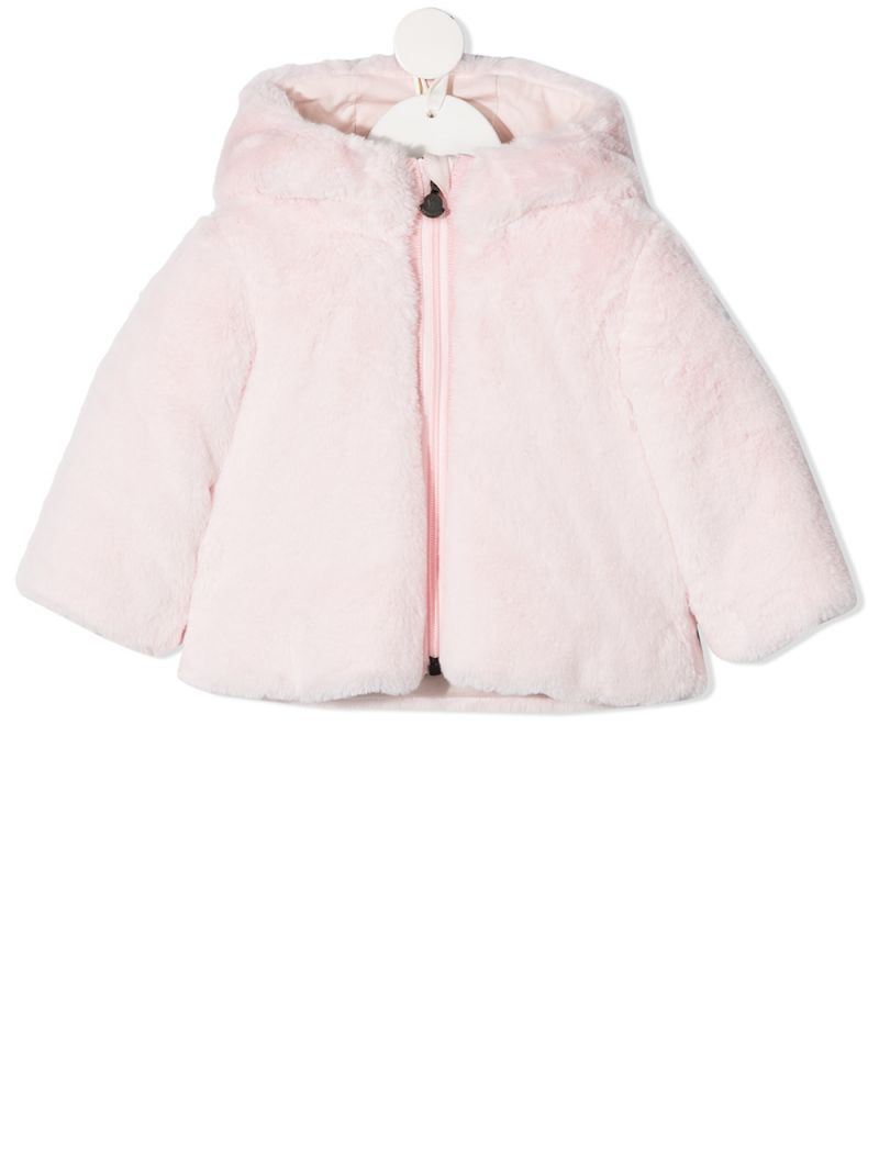 MONCLER KIDS: faux fur down jacket Color Pink_1