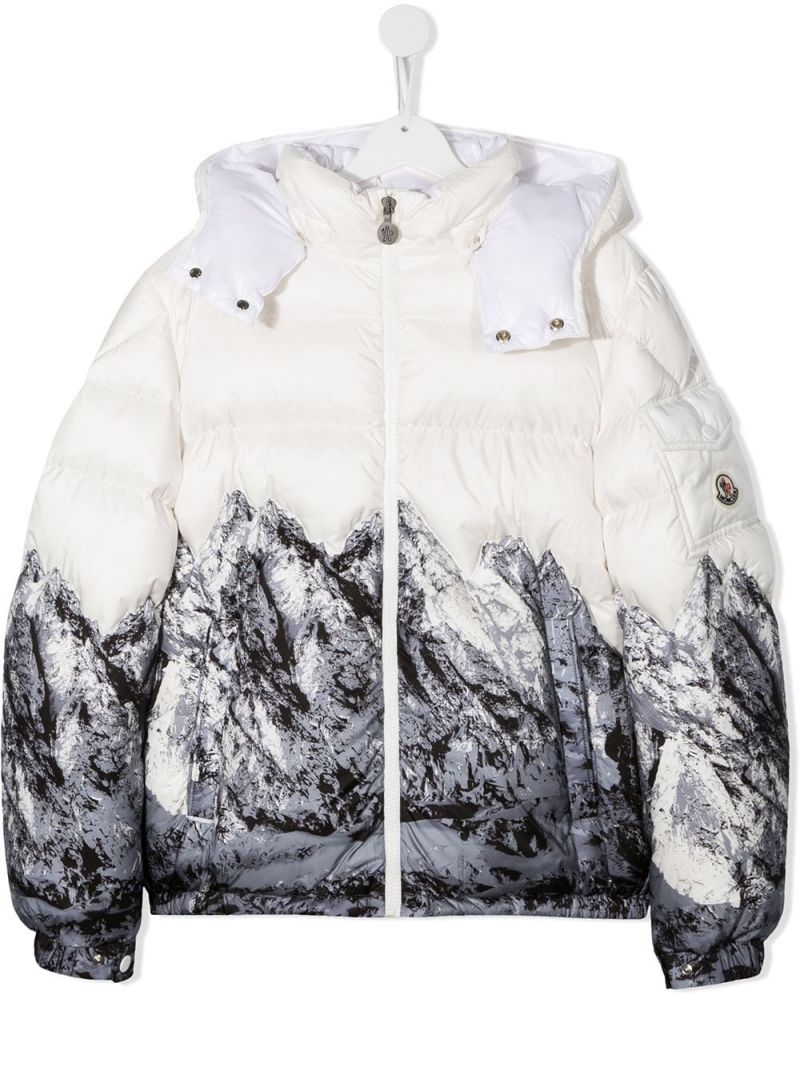 MONCLER KIDS: Mountain print nylon down jacket Color White_1