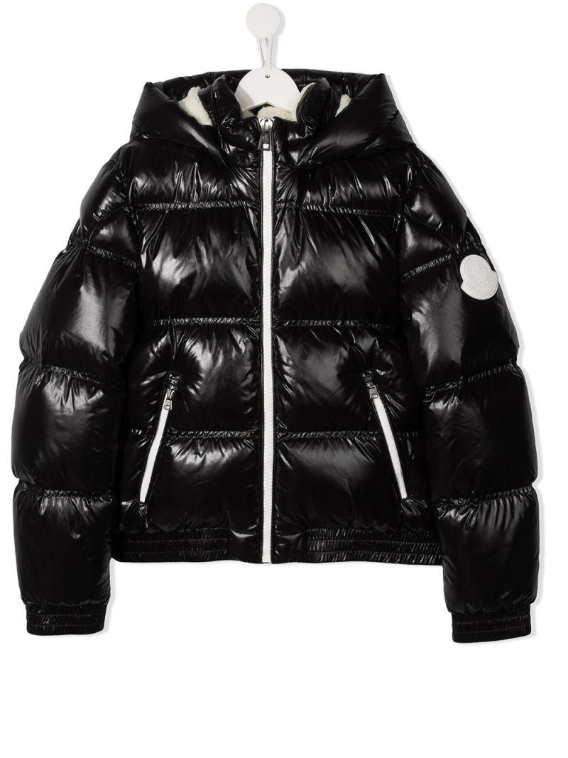 MONCLER KIDS: Citisio laquè nylon down jacket Color Black_1