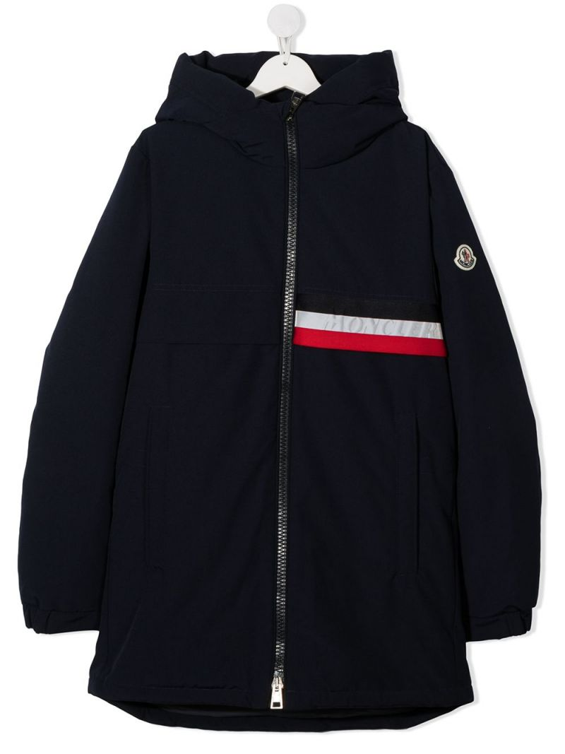 MONCLER KIDS: Pisace technical cotton down jacket Color Blue_1
