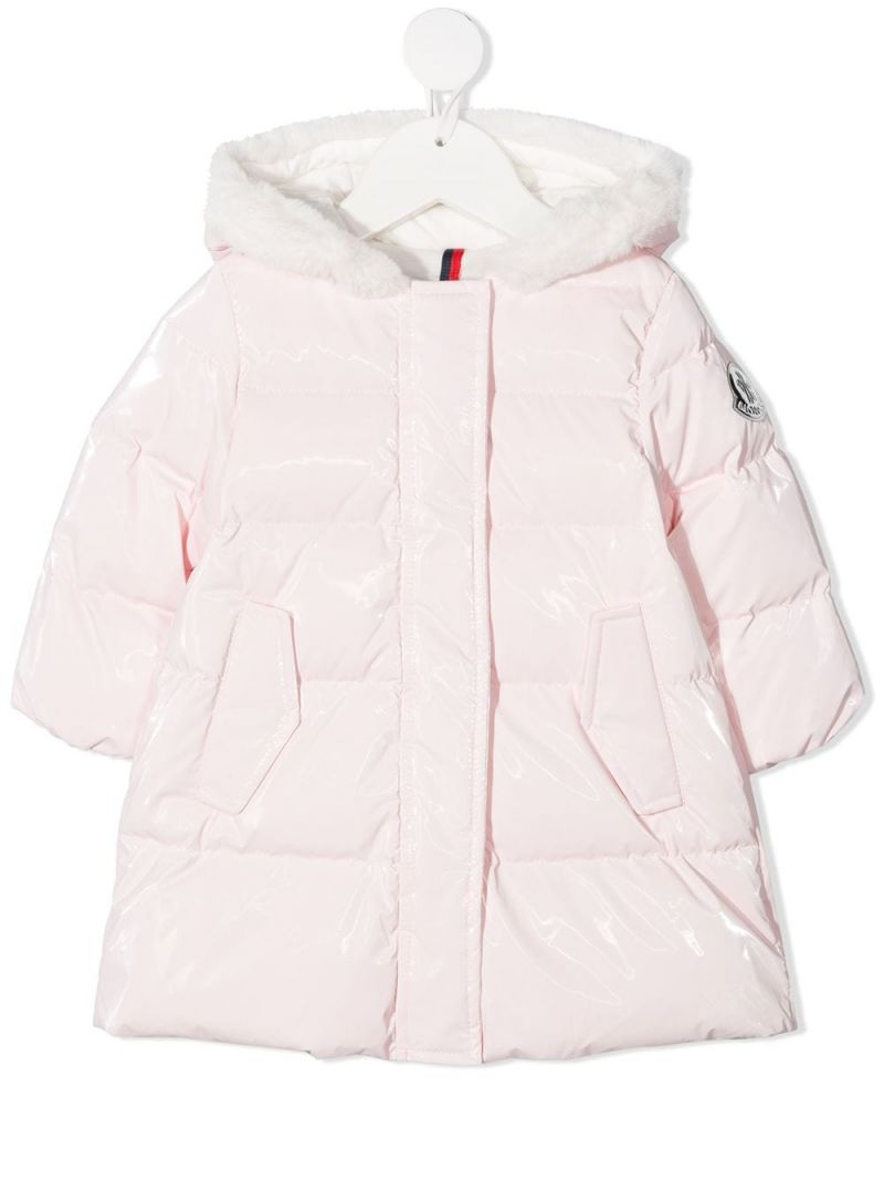 MONCLER KIDS: logo patch nylon down jacket Color Pink_1