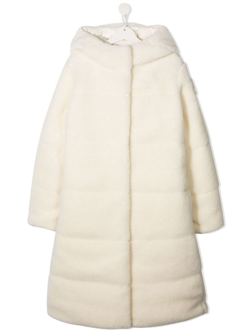 MONCLER KIDS: Bagaud faux fur down jacket Color White_1