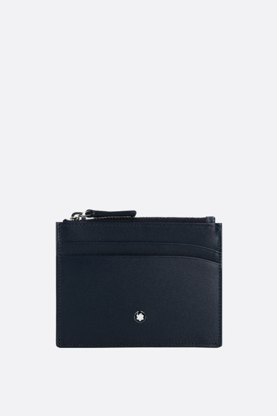 MONTBLANC: Meisterstück smooth leather zip card case Color Blue_1