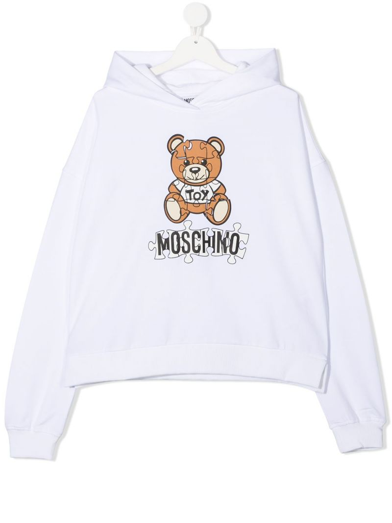MOSCHINO KIDS: Puzzle Teddy Bear print cotton blend hoodie Color White_1