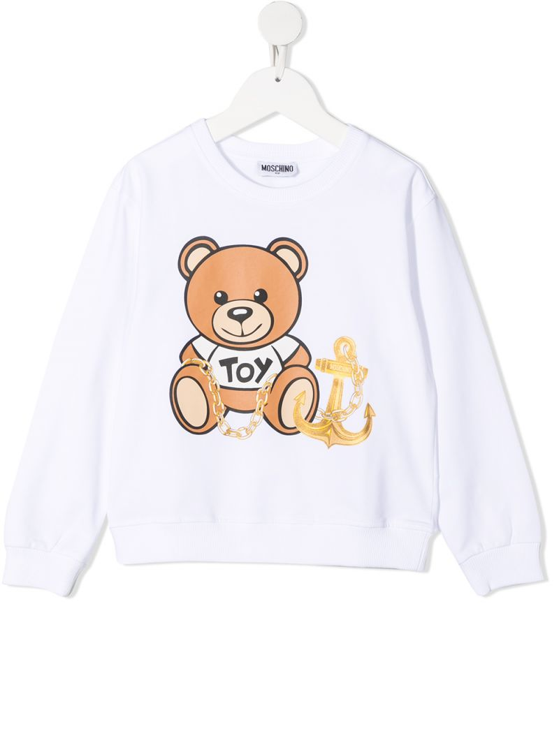 MOSCHINO KIDS: Moschino Teddy Bear print stretch cotton sweatshirt Color White_1