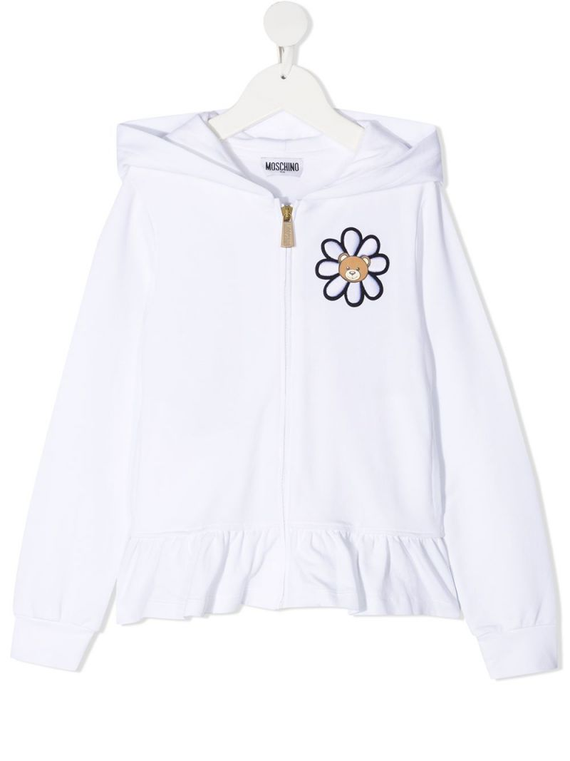 MOSCHINO KIDS: Daisy Teddy Bear stretch cotton full-zip hoodie Color White_1