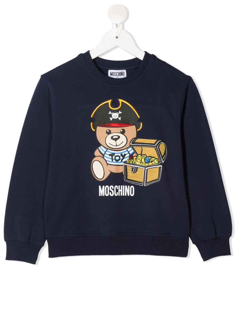 MOSCHINO KIDS: Moschino Teddy Bear print cotton blend sweatshirt Color Blue_1