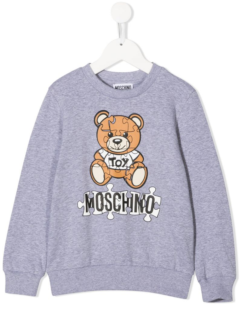 MOSCHINO KIDS: Moschino Teddy Bear print stretch cotton sweatshirt Color Grey_1