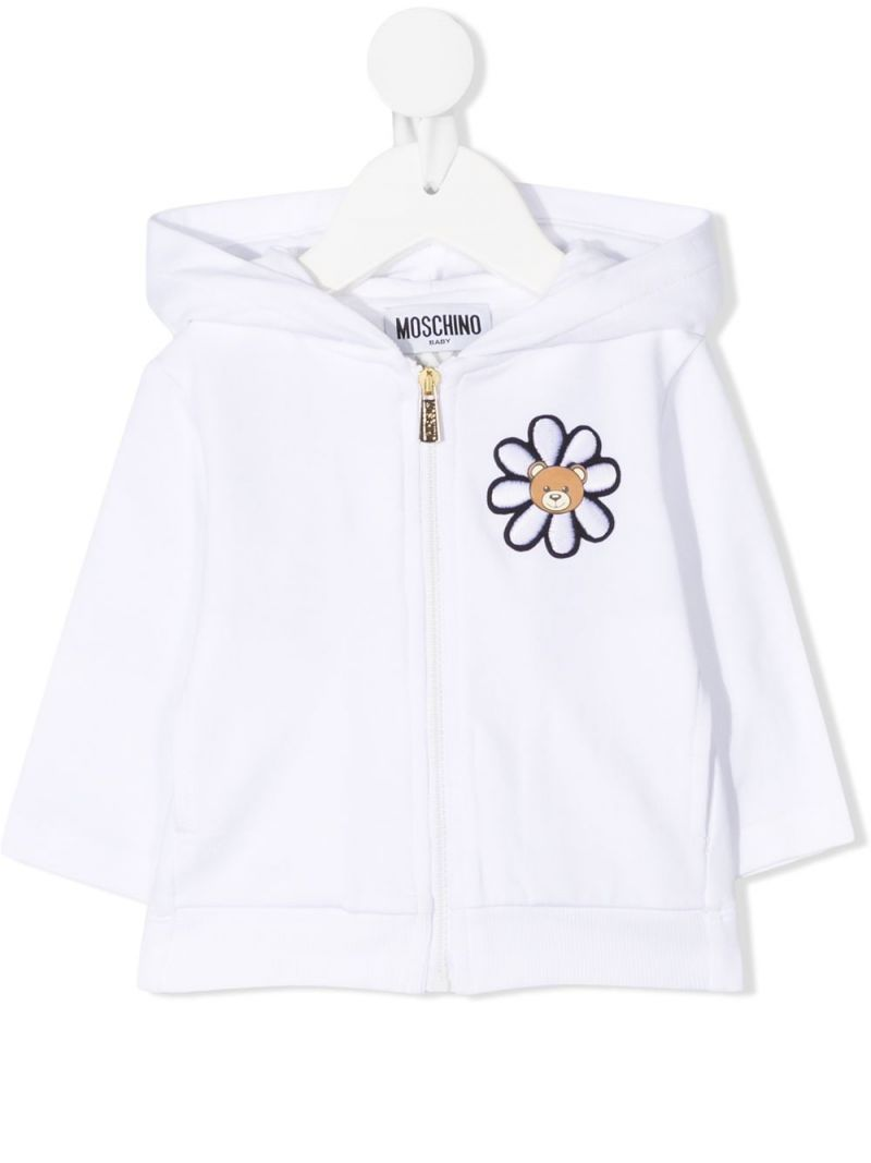 MOSCHINO KIDS: Moschino Teddy Bear print stretch cotton full-zip hoodie Color White_1