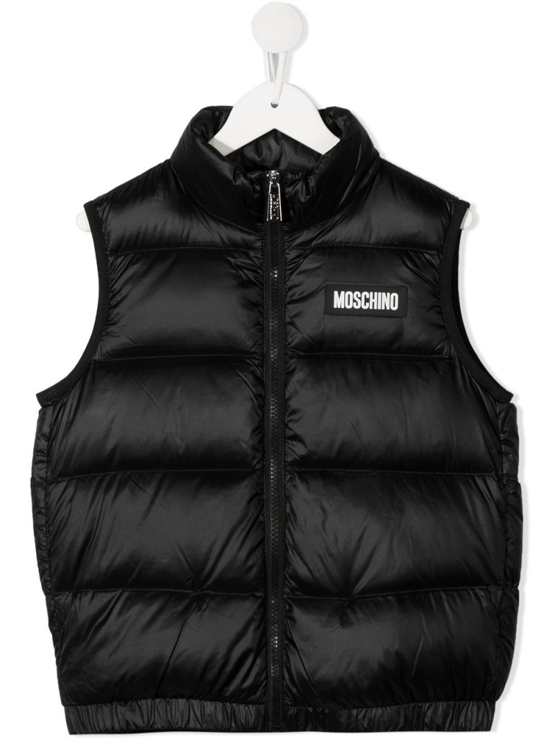 MOSCHINO KIDS: logo print sleveless nylon down jacket Color Black_1