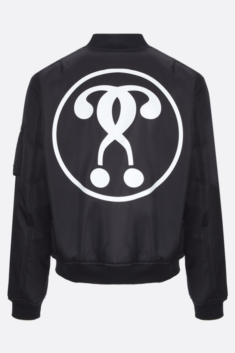 MOSCHINO: bomber imbottito in nylon stampa Double Question Mark Colore Nero_2