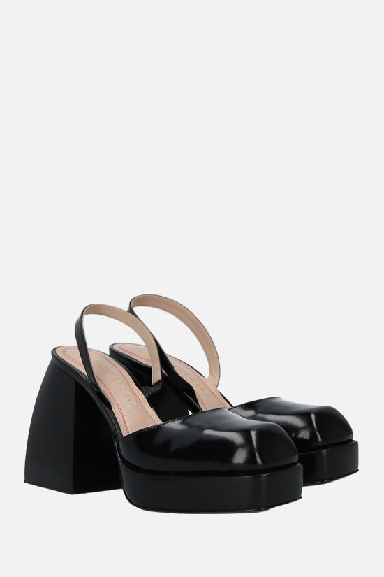 NODALETO: Bulla Jones shiny leather slingbacks Color Black_2